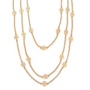 TORY BURCH • Gold Multi Strand Logo Necklace